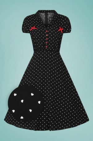 50s Allie Hearts Dress in Black
