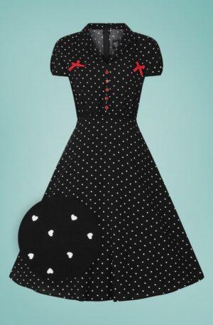 50s Allie Hearts Dress in Black