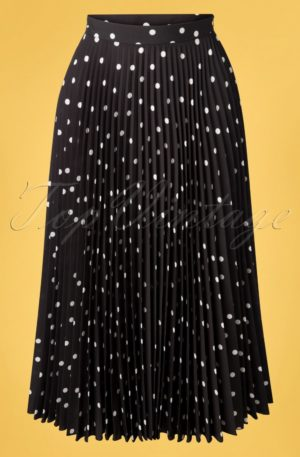 50s Aubrey Polkadot Pleated Skirt in Black