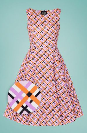50s Audrina Plaid Swing Dress in Pink