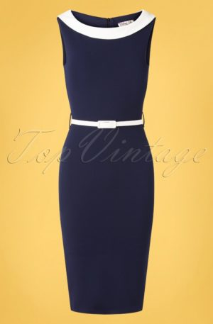 50s Bessy Pencil Dress in Navy and Ivory