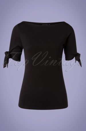 50s Bibi Basic Tie Top in Black