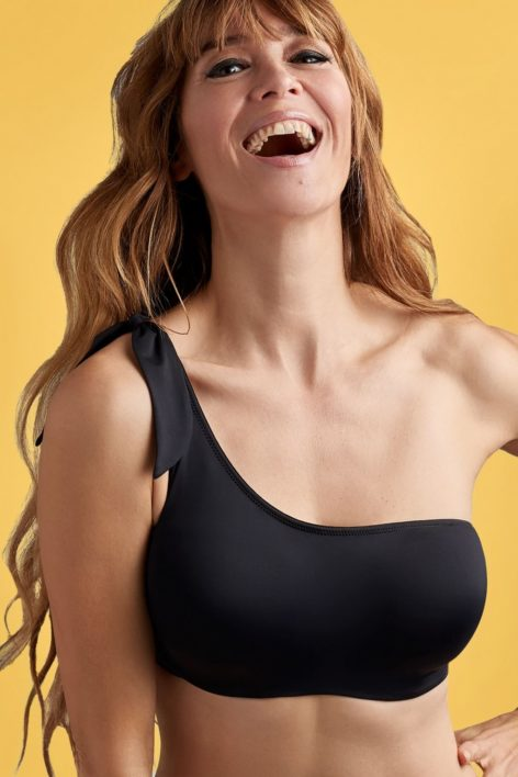 50s Black Sea One Shoulder Bikini Top in Black