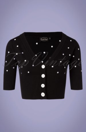 50s Bonita Polkadot Cardigan in Black