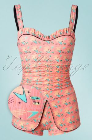 50s Boomerang One Piece Swimsuit in Pink