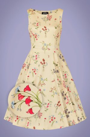 50s Bridget Floral Swing Dress in Cream