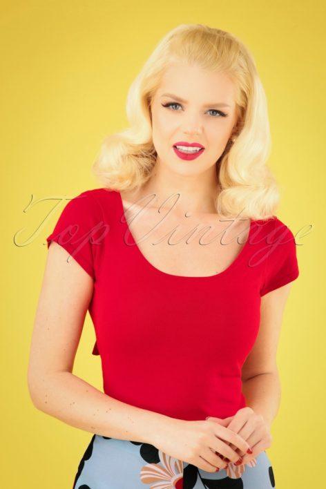 50s Celine Top in Lipstick Red