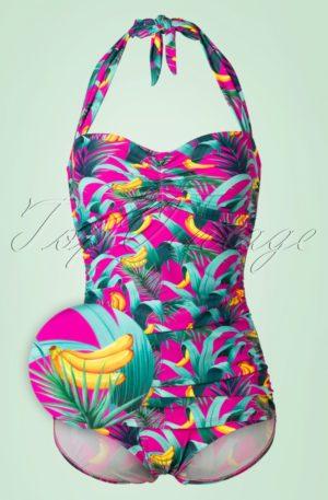 50s Chiquita Frock One Piece Swimsuit in Magenta