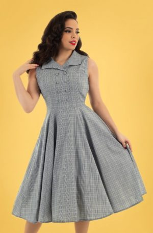 50s Christine Check Swing Dress in Grey