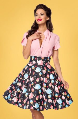 50s Claire Tea Party Swing Skirt in Black