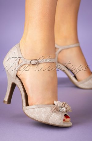 50s Clarissa Peeptoe Pumps in Cream and Gold