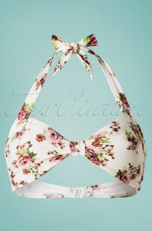 50s Classic Flowers Romance Bikini Top in Cream