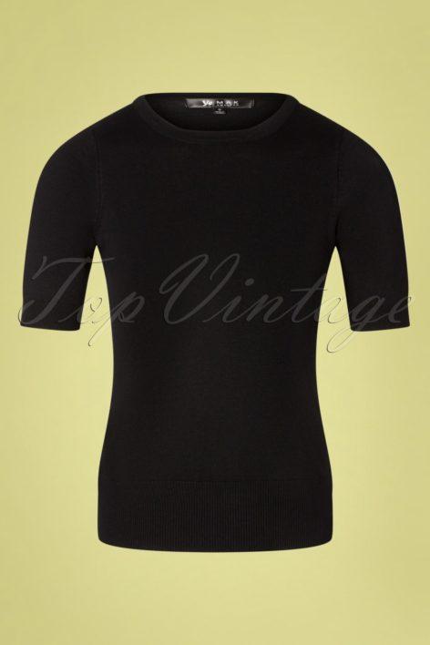 50s Debbie Short Sleeve Sweater in Black