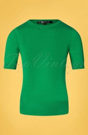 50s Debbie Short Sleeve Sweater in Grass Green