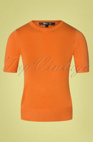 50s Debbie Short Sleeve Sweater in Light Orange
