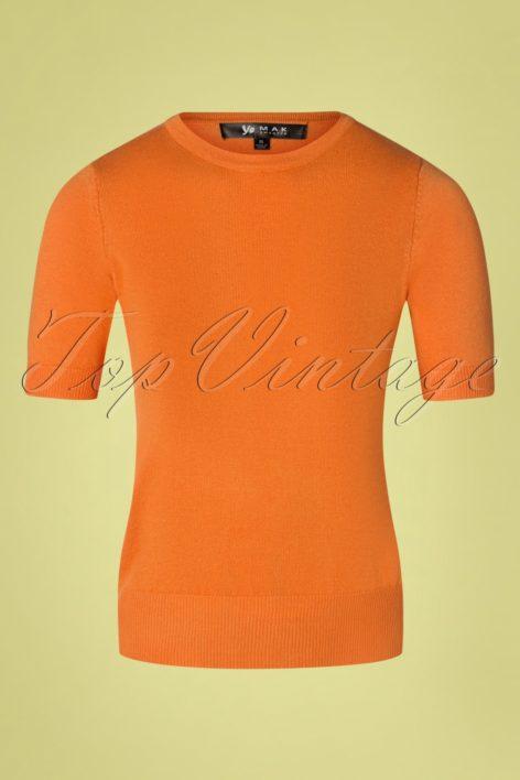 50s Debbie Short Sleeve Sweater in Light Orange