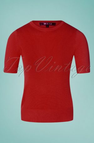50s Debbie Short Sleeve Sweater in Lipstick Red