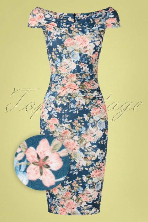 50s Donna Floral Pencil Dress in Blue