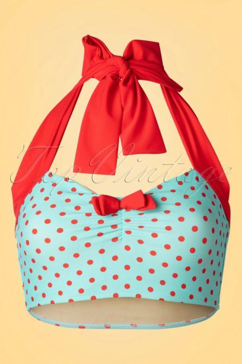 50s Dottie Bikini Top in Aqua Blue and Red