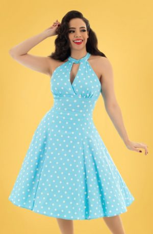 50s Dotty Polkadot Swing Dress in Light Blue