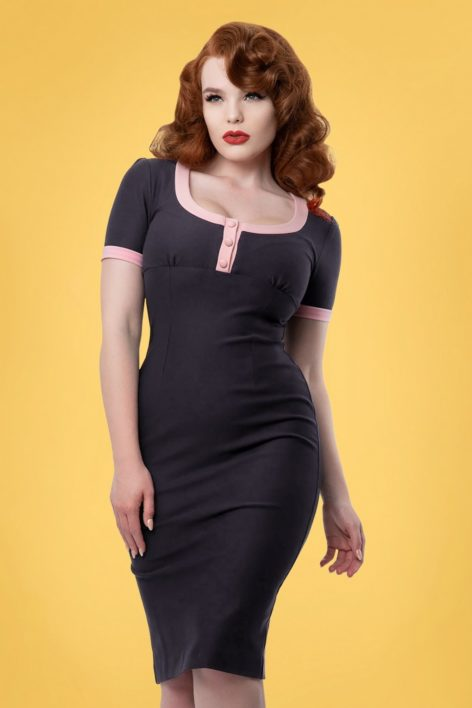 50s Erika Pencil Dress in Navy and Pink