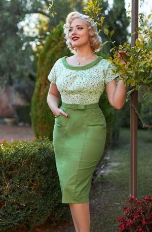 50s Esme Shamrock Pencil Dress in Green