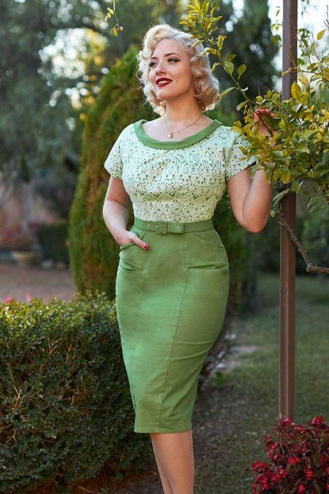 50s Esme Shamrock Pencil Dress in Green