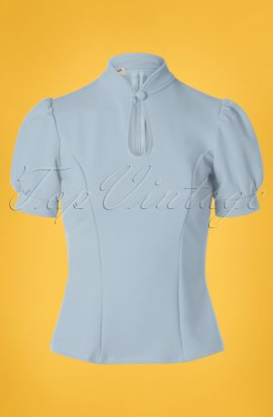 50s Fenna Top in Light Blue