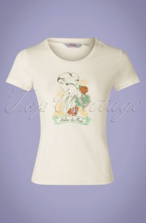 50s Floral Lady T-Shirt in White