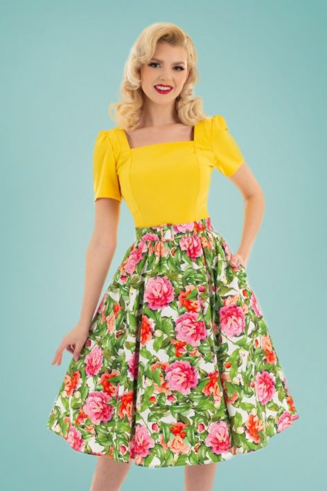 50s Francine Floral Swing Skirt in Green and Pink