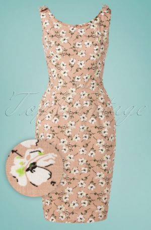 50s Fresh Bloom Pencil Dress in Dusty Nude