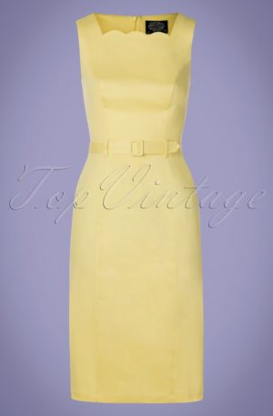 50s Gabriella Wiggle Dress in Pastel Yellow