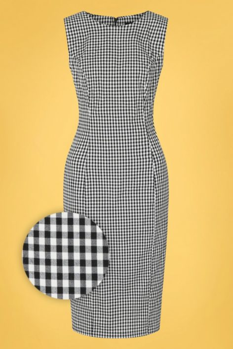 50s Gabrielle Gingham Wiggle Dress in Black and White