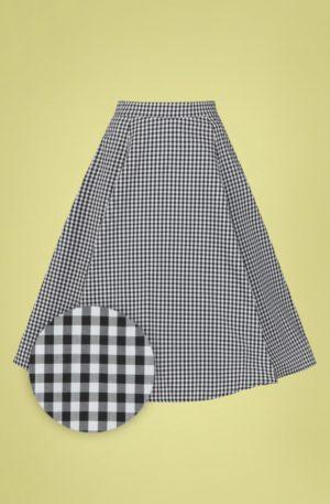50s Gary Gingham Swing Skirt in Black and White