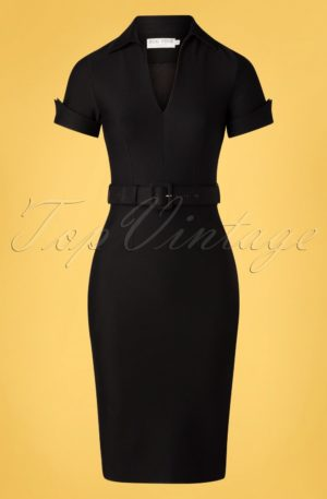 50s Georgie Pencil Dress in Black