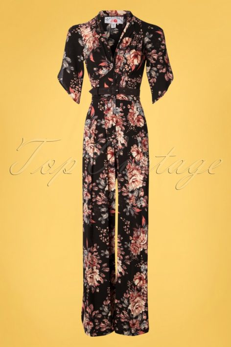 50s Giada Floral Jumpsuit in Black