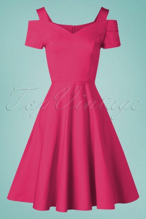 50s Helen Swing Dress in Hot Pink