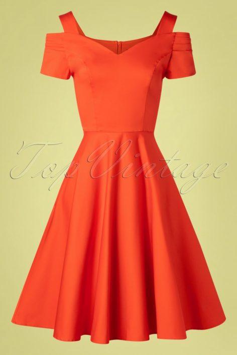 50s Helen Swing Dress in Orange