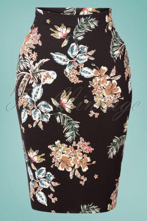50s Honolulu Pencil Skirt in Black