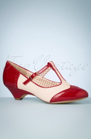 50s Ione Spectator T-Strap Pump in Red and White