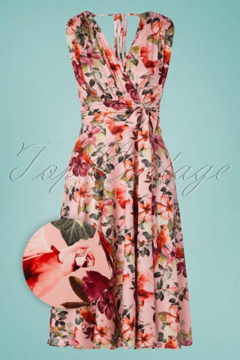 50s Jane Parrot Midi Dress in Pink