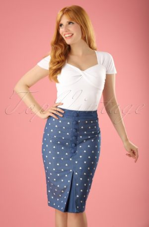 50s Judy Hearts Pencil Skirt in Denim
