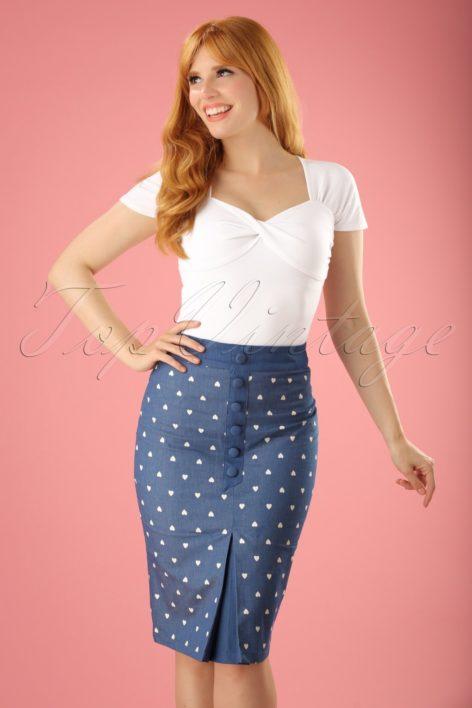50s Judy Hearts Pencil Skirt in Denim