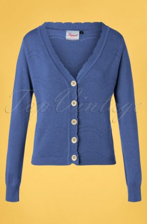 50s June Pointelle Cardigan in Blue