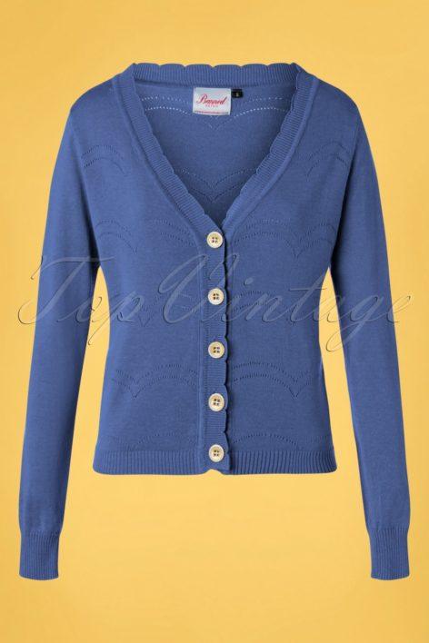 50s June Pointelle Cardigan in Blue