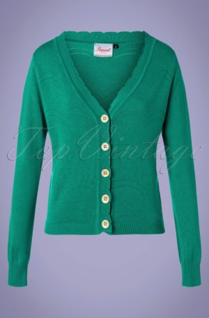 50s June Pointelle Cardigan in Green