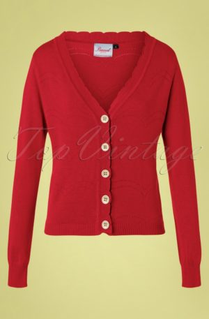 50s June Pointelle Cardigan in Red
