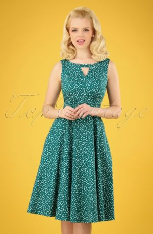 50s La Dosa Dotty Swing Dress in Green