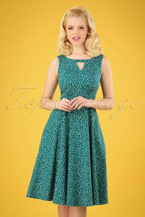 50s La Dosa Dotty Swing Dress in Green