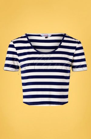 50s Land Ahoy Crop T-Shirt in Navy and White